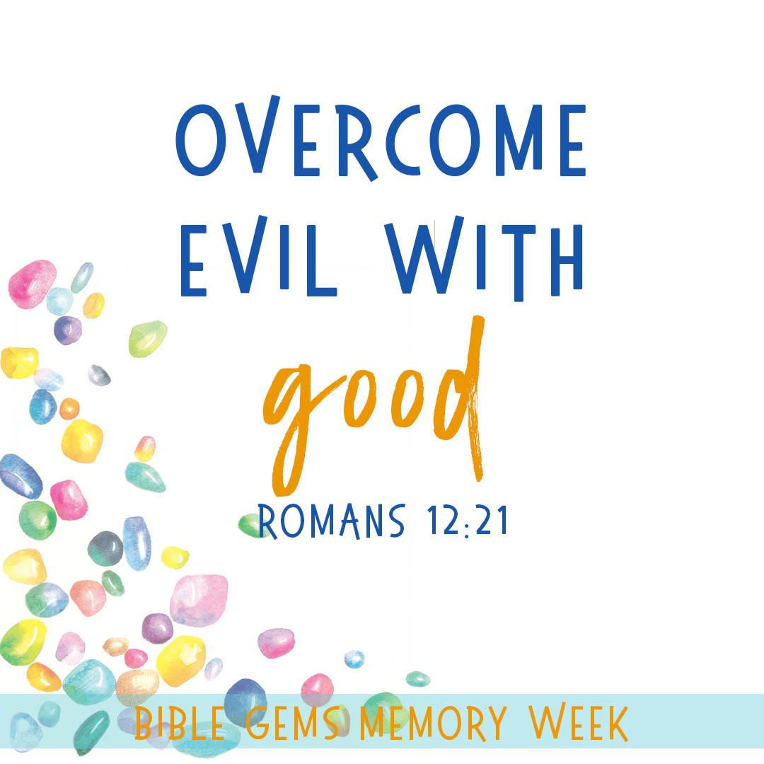 "The Bible ""gem"" of the day is ""Overcome evil with good.""  Don't forget to share this ""gem"" with your little one. Here are more tips on how to help your little one memorize Scripture. https://t.co/IDwbpAxrzI  #biblememory #scripture #verses #Christian #memoryverse https://t.co/xltrbSBgW1"