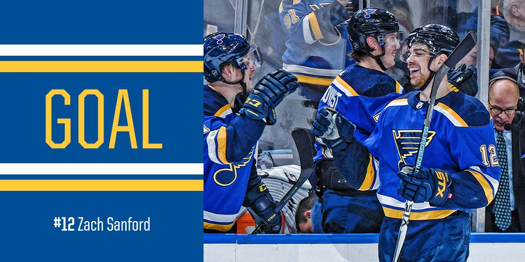 SANNY! Zach Sanford makes it 2-1 Blues with a power-play goal early in the third period. #stlblues