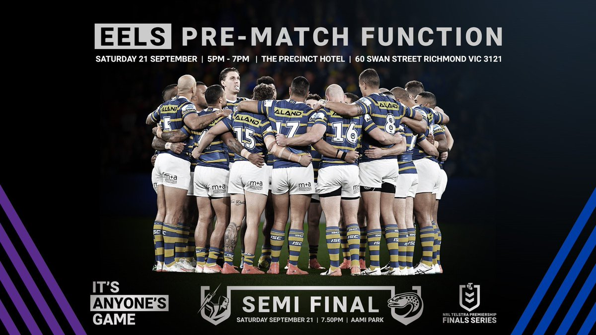 Blue & Gold Members and fans in Melbourne, don't forget about our pre-match function!  #PARRAdise #NRLFinals