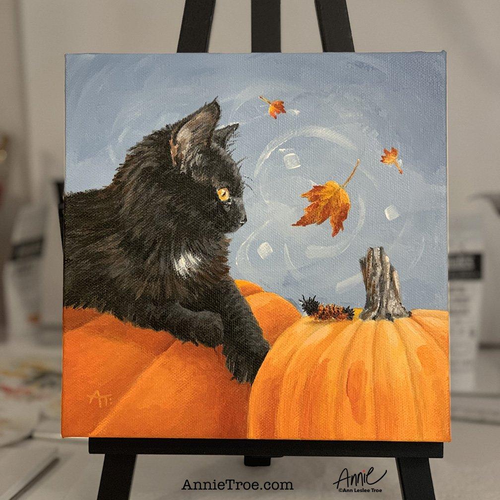 Just finished this 8x8 Halloween painting. It makes my heart happy 😻🎃 Sending feel good vibes your way 👋💕 #Halloween #pumpkin #blackcat #halloweendecor #annietroe #feelgoodartist #artwithheart #animalartist #artlicensing #halloweenpainting #halloweenart