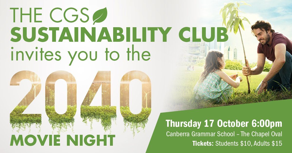 For the first time at CGS, sit beneath the stars and enjoy a family movie night watching '2040' on the @CodeCadets  giant digital screen! Hosted by the CGS Sustainability Club,  this is a waste-free event not to be missed! BOOK HERE: https://t.co/9EuhRJ2O5z