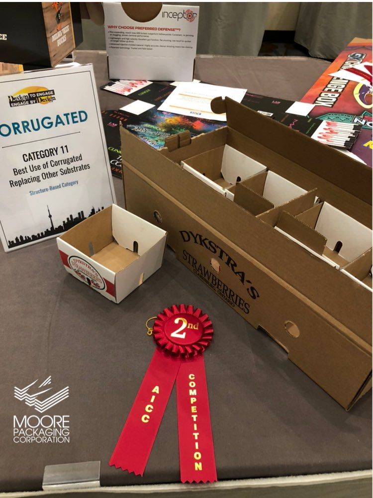 2nd place winner! 🥈The Association of Independant Corrugated Converters design competition - Best use of corrugated replacing other substrates. 📦 #moorepackaging #teammoore #creativepackagjng #corrugated #100percentrecyclable #noplastics #aicc https://t.co/UVB7lJTJMp