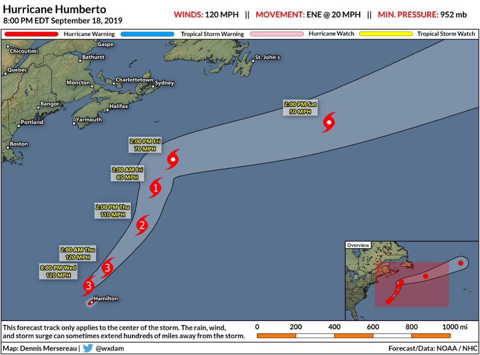 Hurricane Humberto lashes Bermuda with wind gusts as high as 114 MPH on.forbes.com/6011161bR