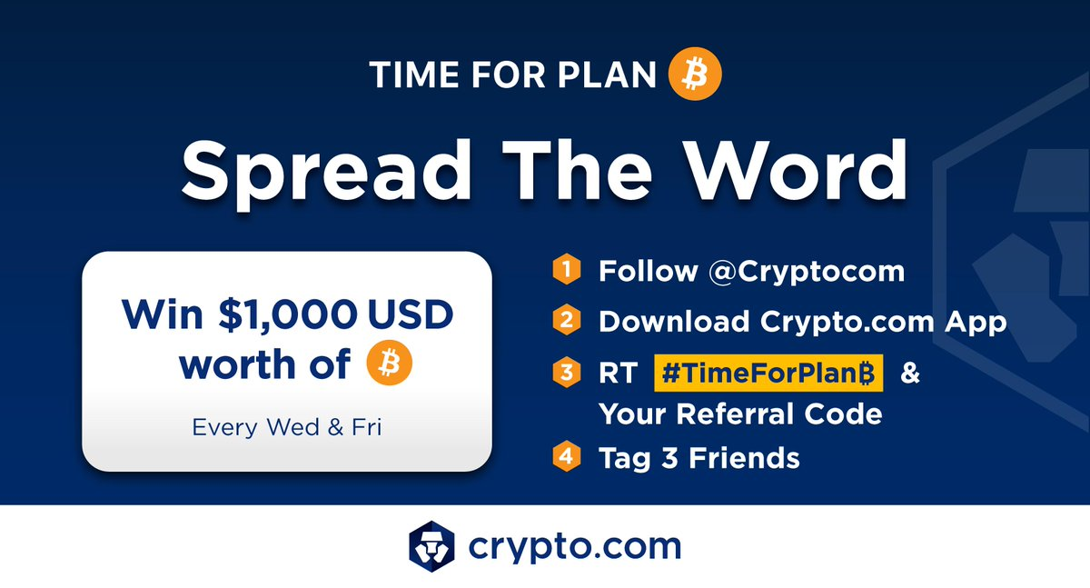1)Time for Plan ₿ has arrived. Join 1M+ who downloaded our App & spread the word 👍Follow @Cryptocom 🔽Download  App ⏩RT #TimeForPlanB & your referral code to enter 🤝Tag 3 Friends We will select one person every Wed & Fri to receive $1000 USD worth of ₿