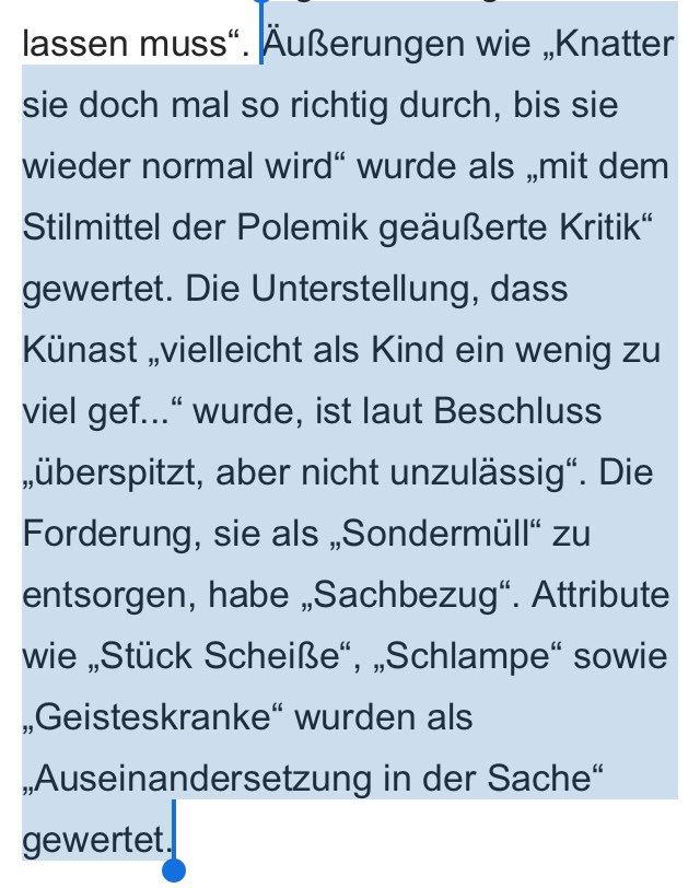 Was zur Hölle? https://www.morgenpost.de/berlin/article227129109/Renate-Kuenast-bei-Facebook-uebel-beschimpft-Fuer-Berliner-Gericht-hinnehmbar.html?service=amp&utm_term=Autofeed&utm_medium=Social&utm_source=Twitter&__twitter_impression=true…