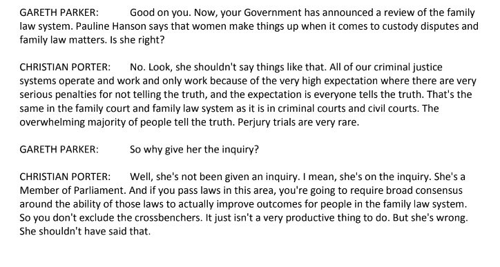 Attorney-General Christian Porter on Pauline Hansons claims about the family law system #auspol