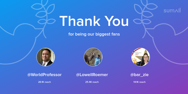 Our biggest fans this week: WorldProfessor, LowellRoemer, bar_zie. Thank you! via sumall.com/thankyou?utm_s…