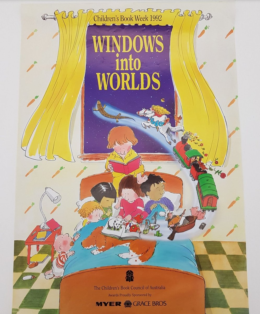 CBCA Book Week Flashback! Year: 1992 Theme: Windows into Worlds Artwork: Bob Graham  Graham's book 'Greetings from Sandy Beach' won CBCA Picture Book of the Year in 1991.  #cbcabookweek #bookweek1992 #bobgraham #windowsintoworlds #childrensillustration #throwbackthursday