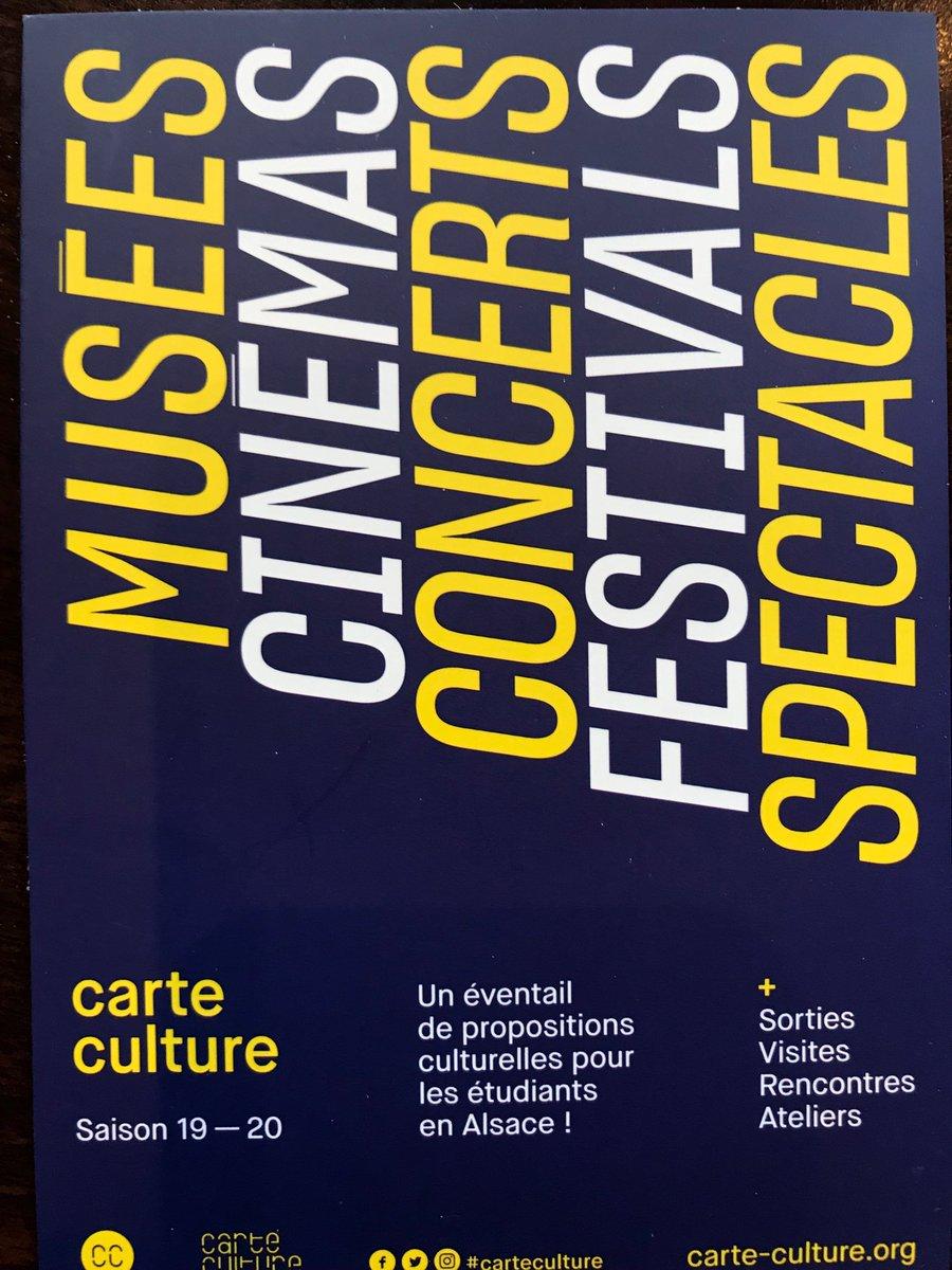 Avec la @Carte_culture, la saison culturelle de plus de 80 lieux partenaires en Alsace grâce à la #cvec pour les #étudiants. https://t.co/62ELMYis19
