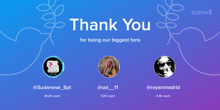 Our biggest fans this week: Sudanese_Spt, sol__11, rayanmadrid. Thank you! via  https:// sumall.com/thankyou?utm_s ource=twitter&utm_medium=publishing&utm_campaign=thank_you_tweet&utm_content=text_and_media&utm_term=0e30f0355b691f502e13debf  … <br>http://pic.twitter.com/CS2xKyLdIQ