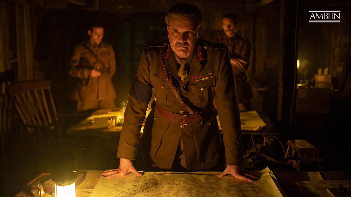 New stills from director Sam Mendes @1917, a whos who of British performers including (pictured) Colin Firth, Benedict Cumberbatch (@WarHorseMovie), Mark Strong, @Dean_C_Chapman and George McKay. #1917Movie #SamMendes #DreamWorksPictures @UniversalPics