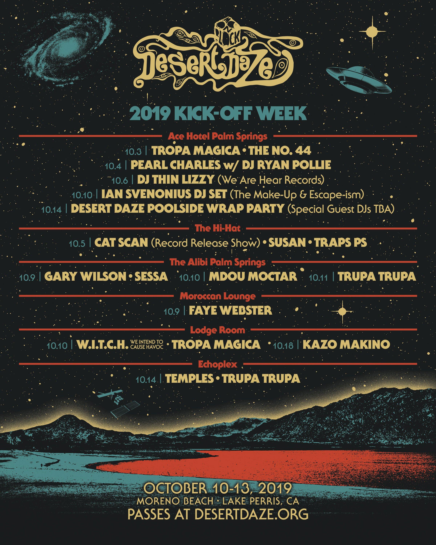 Desert Daze Schedule 2019