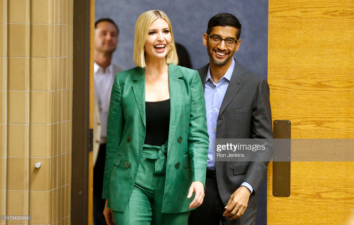 White House advisor Ivanka Trump and Google CEO Sundar Pichai arrive for an economic roundtable discussion at El Centro community college in Dallas, Texas 📷: Ron Jenkins