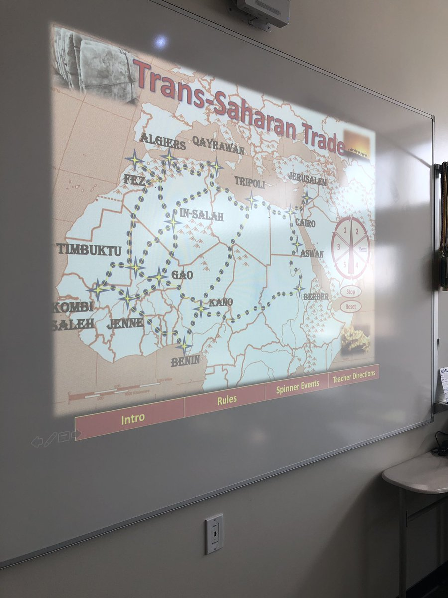 AP World History class tackling the Saharan Trade routes in an Oregon Trail style challenge. #WHAP #UKnighted