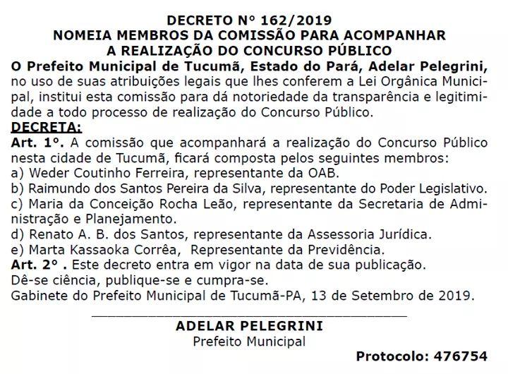 A Prefeitura de #Tucumã, Estado do #Pará, instituiu comissão para acompanhamento de realização do Concurso Público.  #PrefeituraMunicipal #EstadodoPará #Comissão #Concurso #Notícia