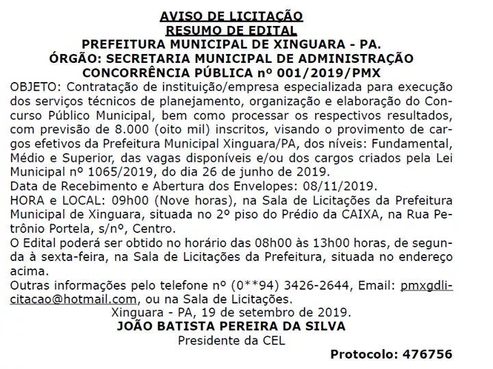 A Prefeitura Municipal de #Xinguara, #Pará, publicou aviso de licitação para elaboração de Concurso Público Municipal visando o provimento de cargos dos níveis: Fundamental, Médio e Superior.  #PrefeituraMunicipal #EstadodoPará #Licitação #Concurso #Notícia