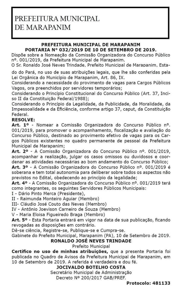 A Prefeitura de #Marapanim, #Pará, nomeou Comissão para a Organização de Concurso Público, destinado ao provimento efetivo de vagas para os Cargos Públicos existentes no quadro permanente de pessoal da Prefeitura.  #PrefeituraMunicipal #EstadodoPará #Comissão #Concurso #Notícia
