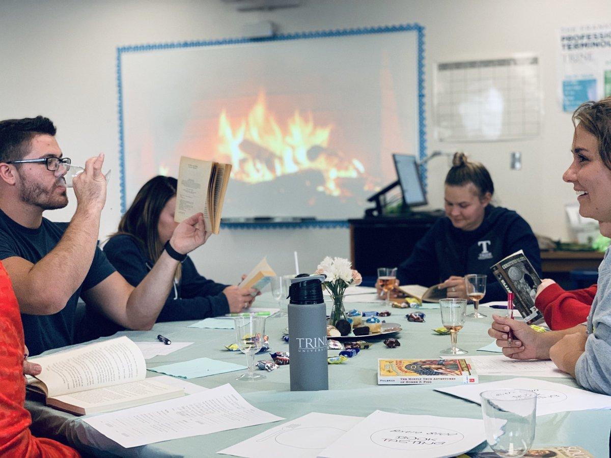 #TeacherByTrine students loving life and digging the @ProfATodd Book Tasting Event! #HolyCannoli #ItWasOnlyAppleJuice #FinerThingsClub <br>http://pic.twitter.com/1WWZBPFeht