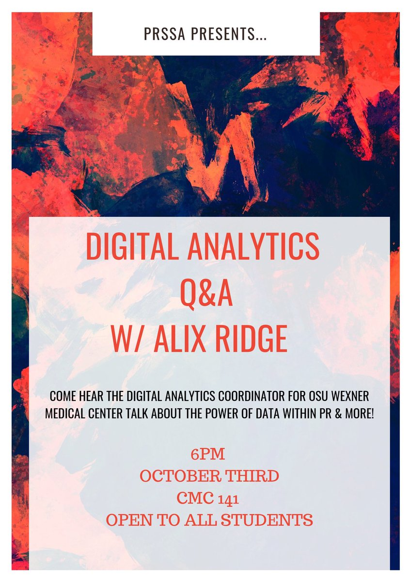 Tonight!  Join Capital PRSSA as we host Alix Ridge from @OSUWexMed to discuss all things analytics and research.  Google Analytics Certification will be included in this event, so make sure you're here!  #GoogleAnalytics #PRSSA #CapitalPRSSA – at convergent media center