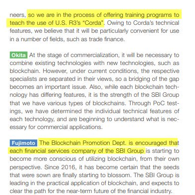 Interesting interview in SBIChina annual report. Highlights include: • They have a Blockchain Promotion Dept. • They are offering R3 Corda training w/in the group. • SBI Ripple Asia is the Secretariat of the Japanese Bank Consortium (behind MoneyTap)  http:// sbichina.com.cn/data/pdf/2018a r_e-all.pdf  … <br>http://pic.twitter.com/ayA6O3gPTV