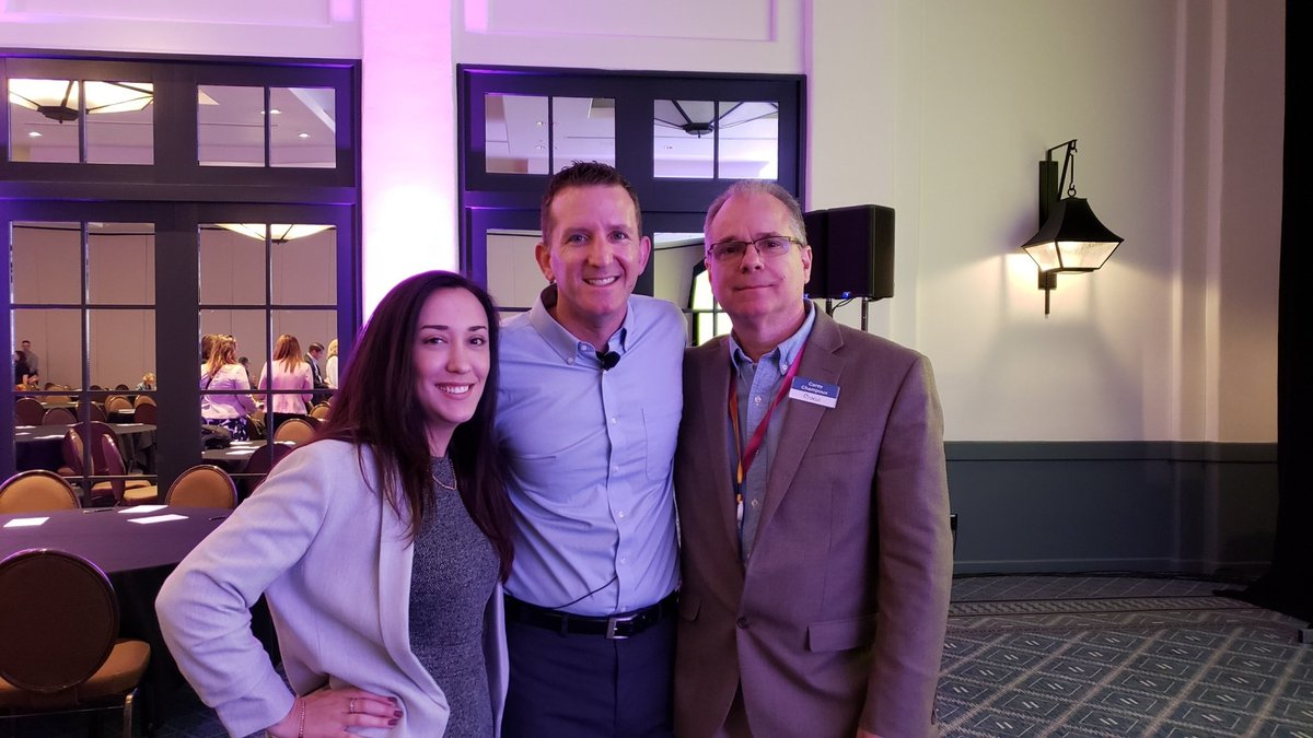 After his keynote, @Pelotonia President and CEO @dougulman visits with two OCLC 2019 Pelotonia riders, Carey Champoux and Christina Rodriques at #OCLCLibraryFutures