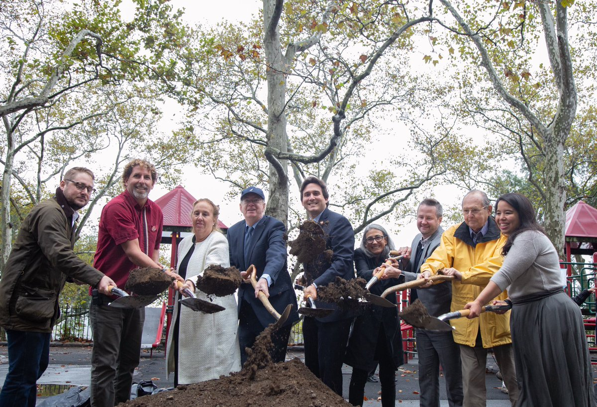 Council Member @BenKallos breaks ground on new playground upgrade at Carl Schurz Park.