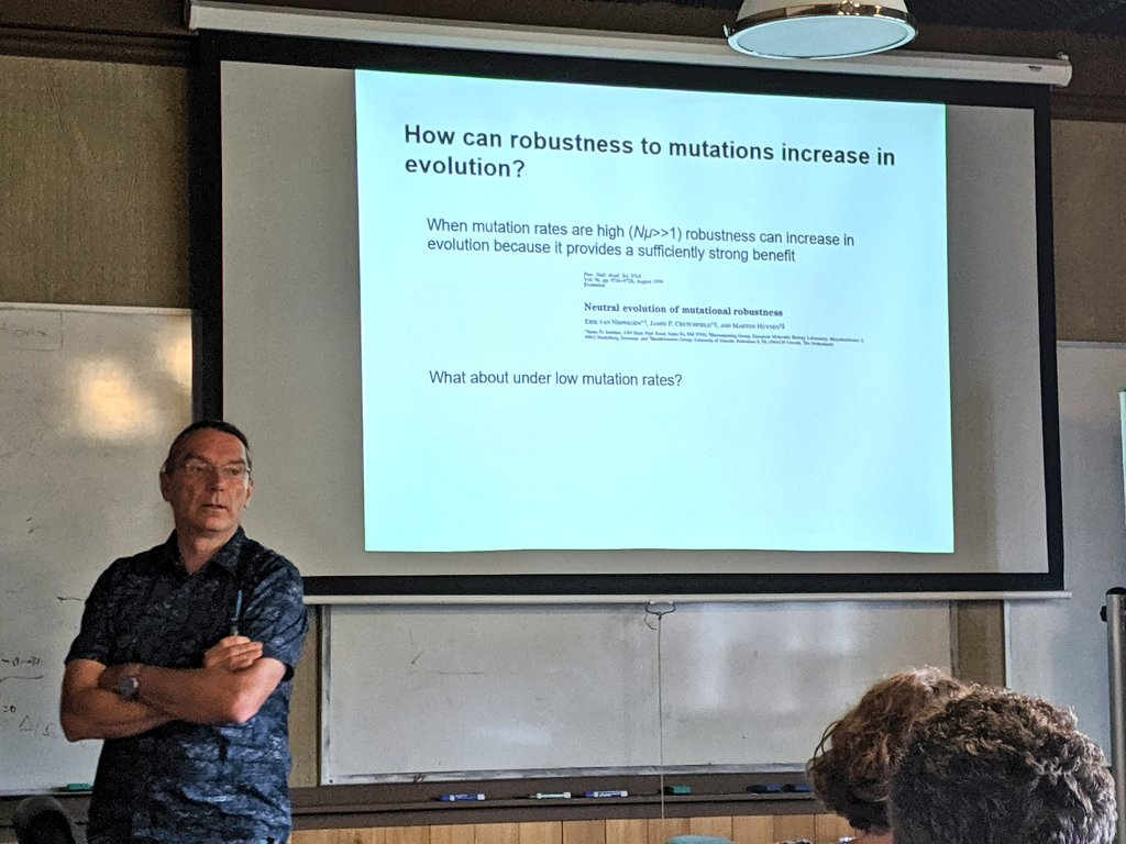 What are the effects of selection on #evolvability? Does robustness lead to reservoirs of neutral genetic mutations that prepare an organism to adapt to new environments?  Today at SFI, External Professor @WagnerEvolution of @UZH_en on adaptive landscapes: