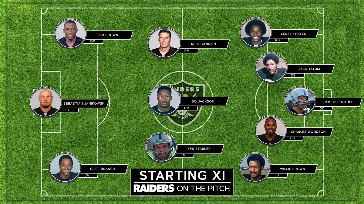 Playing in London got us thinking... Which all-time Raiders wouldve dominated at soccer? 🤔 Our Starting XI: rdrs.co/Nond8s @NFLUK
