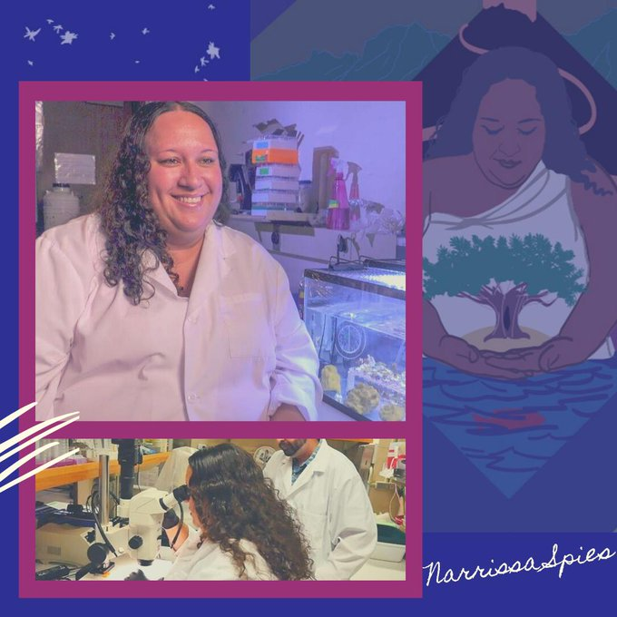 Images of Narrissa smiling in the lab, looking in microscope. Background image of 2019 SACNAS artwork featuring Narrissa holding a tree.