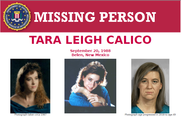 The #FBI is offering a reward of up to $20,000 for precise details leading to the identification or location of Tara Leigh Calico and information leading to the arrest and conviction of those responsible for her disappearance.