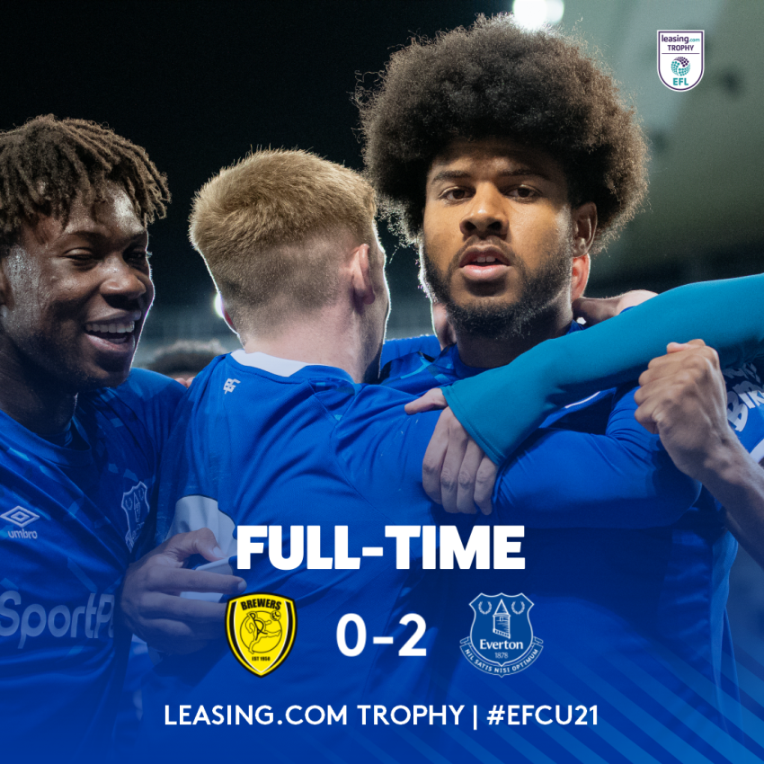 FT. @burtonalbionfc 0-2 #EFCU21. Goals from @_ellissimms and @AntonyEvans_8 earn victory in our second @LeasingcomTrphy group game. The young Blues unbeaten start to the season continues! 👏