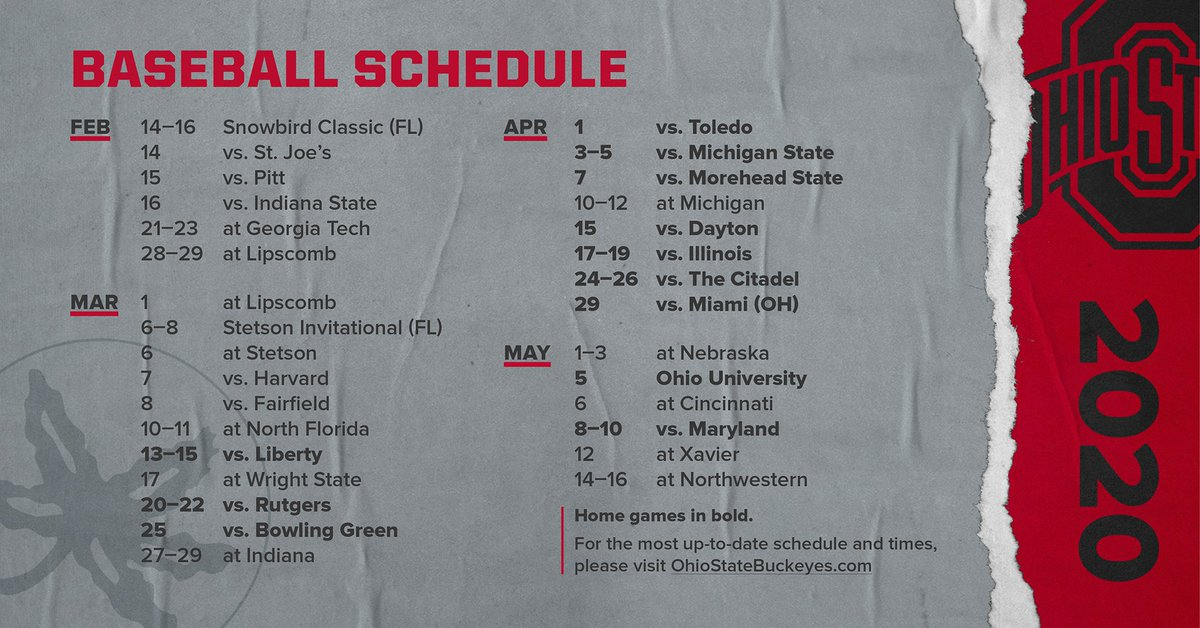 Ohio State Schedule 2020.Ohio State Baseball On Twitter The Buckeyes 2020 Schedule