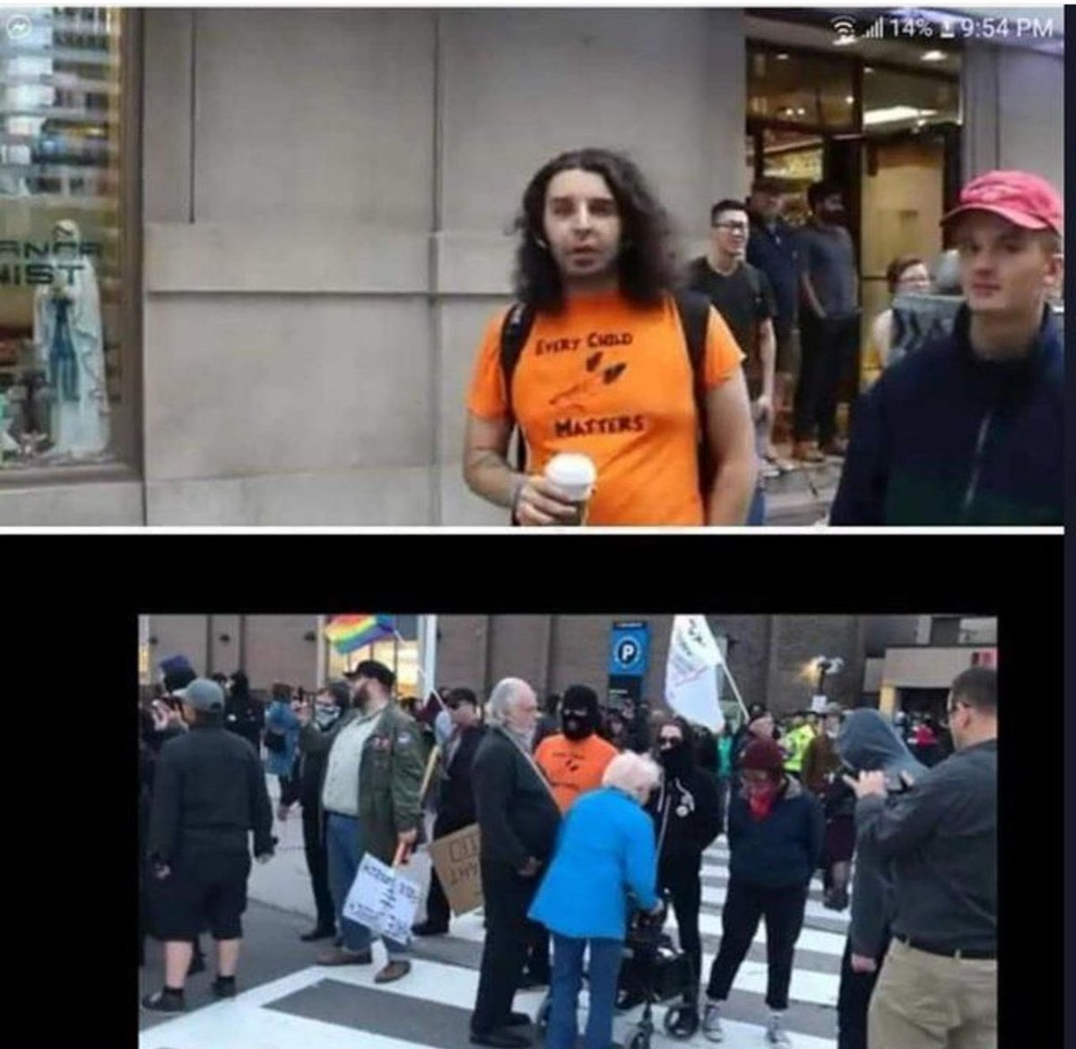 #Antifa member in Ontario who harassed elderly couple shown here without his mask! I wasnt there but Im guessing you can smell him from 500 metres out!