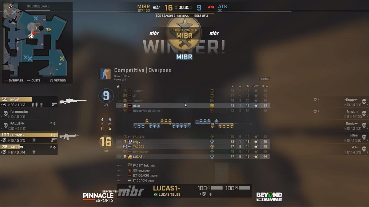 Já levamos a overpass 16-9 e vamos para o nosso pick - dust2! We take overpass 16-9 and are now going to our map pick - dust2! #SomosMIBR 📺 twitch.tv/beyondthesummi… twitch.tv/faceittv