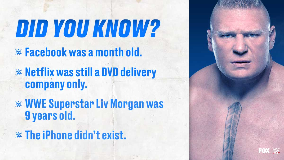 The last time @BrockLesnar had a match on @WWE Friday Night SmackDown...