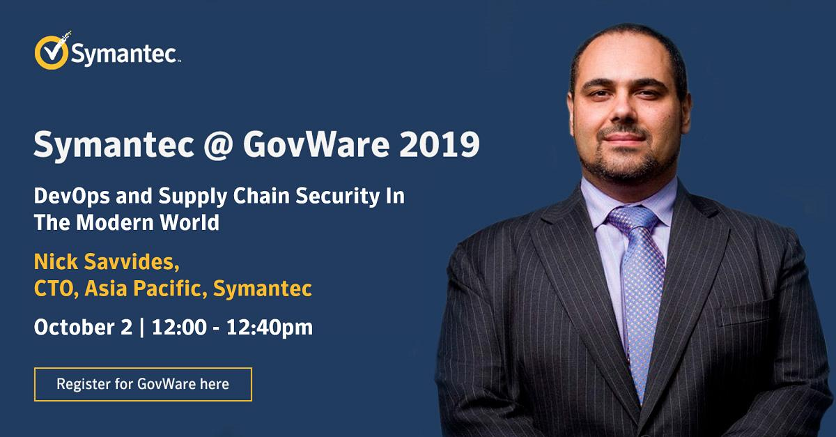 Catch our CTO APAC Nick Savvides today at the Auditorium, Hall 406, Level 4 as he speaks on DevOps and Supply Chain Security in the Modern World.  #SICW2019 #GovWare2019 #SymantecAtGovWare2019 https://t.co/LQhUBIKIcS