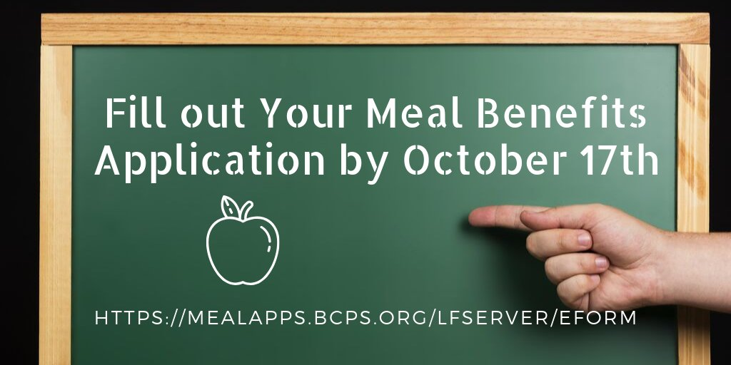 Don't forget to complete your meal application! @BCPS_SSW @BCPSParentU @Business_BCPS @bcpstv @BaltCoPS