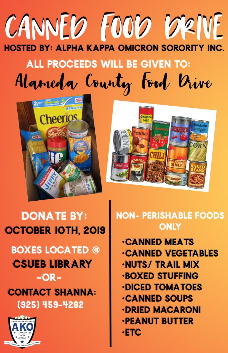 We are having a Canned Food Drive for Alameda County Food Drive! Our box to donate is located infront of the CSUEB library. Please donate non perishable /non expired foods only! #OneCanMakeADifference <br>http://pic.twitter.com/voO45wIPTP