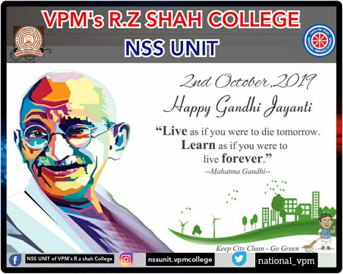 """Mahatma Gandhi was one of them. He made India an independent country without using any nuclear weapons, army. """"150th Anniversary Of Mahatma Gandhi."""" #150thyear #gandhijayanti #fatherofnation #leader  #bappu #nssunitvpm @national_vpm @_NSSIndia @NaveliDeshmukhpic.twitter.com/MheoEHRghI"""