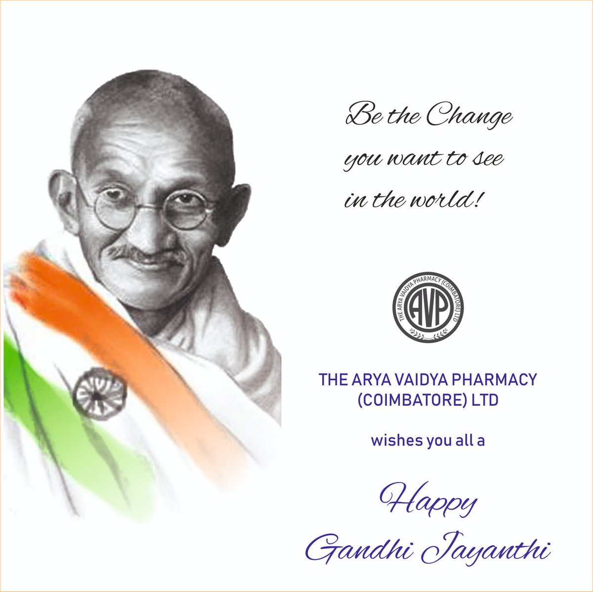 Saluting the Father of the Nation on his Birth Anniversary! Happy Gandhi Jayanthi from all of us at Arya Vaidya Pharmacy (Coimbatore) Ltd. #gandhijayanthi #mahatma #bethechange #seethechange #avpayurveda #avpforlife #avpforhealth