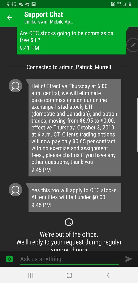 Td Ameritrade On Twitter Hi There 0 00 Commissions Will Be For Exchange Listed Stocks Specifically So This Does Not Apply To Otc Stock At This Time Zr Https T Co W8ewybvmw2