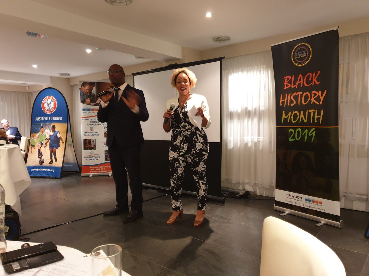Our @CIPD colleague, @NicholeDHiggins enjoyed every second of co-hosting the @CroydonBMEForum #BlackHistoryMonth launch @CPFC with an amazing & inspirational audience. Great to talk about what the @CIPD is doing in this space too via our employee group #embRACE! #Representation