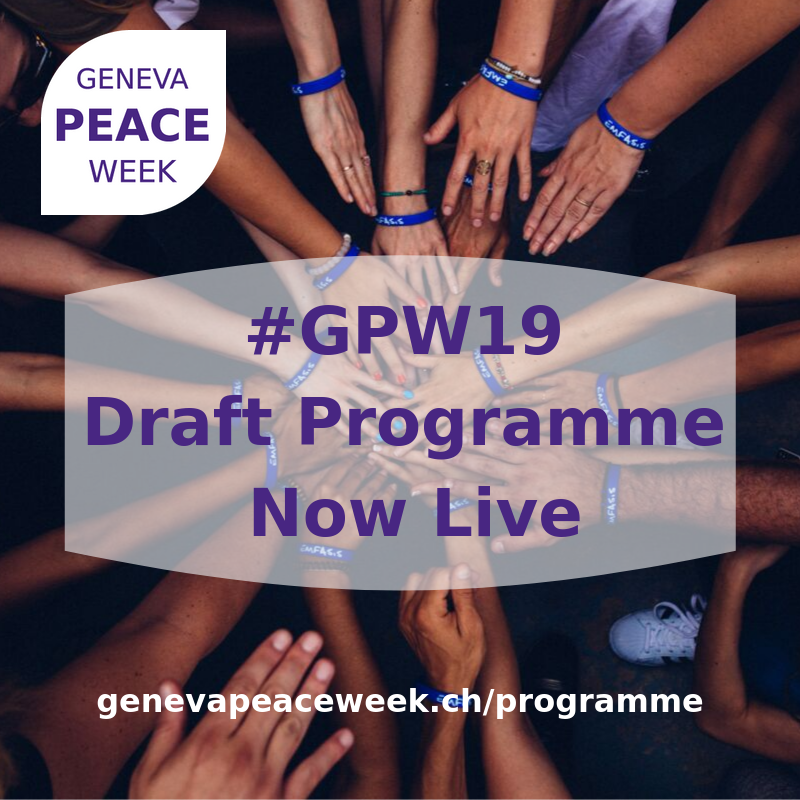 We are proud that the @r4d_programme and its Social Conflicts projects are among the 100+ organisers of the 2019 @GenevaPeaceWeek. The draft programme of #GPW2019 is now online on  https://t.co/SThyR0DbPQ. Our @r4d_programme events take place on 4 and 5 Nov. @Gender_PB_r4d @WILPF https://t.co/Qpujz6HsOt