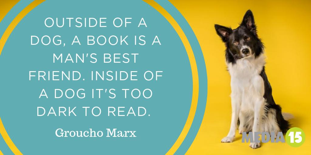 'Outside of a dog, a book is a man's best friend. Inside of a dog it's too dark to read.' Groucho Marx Thanks for the tip Groucho! #WednesdayWisdom #classicquotes #classiccomedypic.twitter.com/zz65bpnwEW