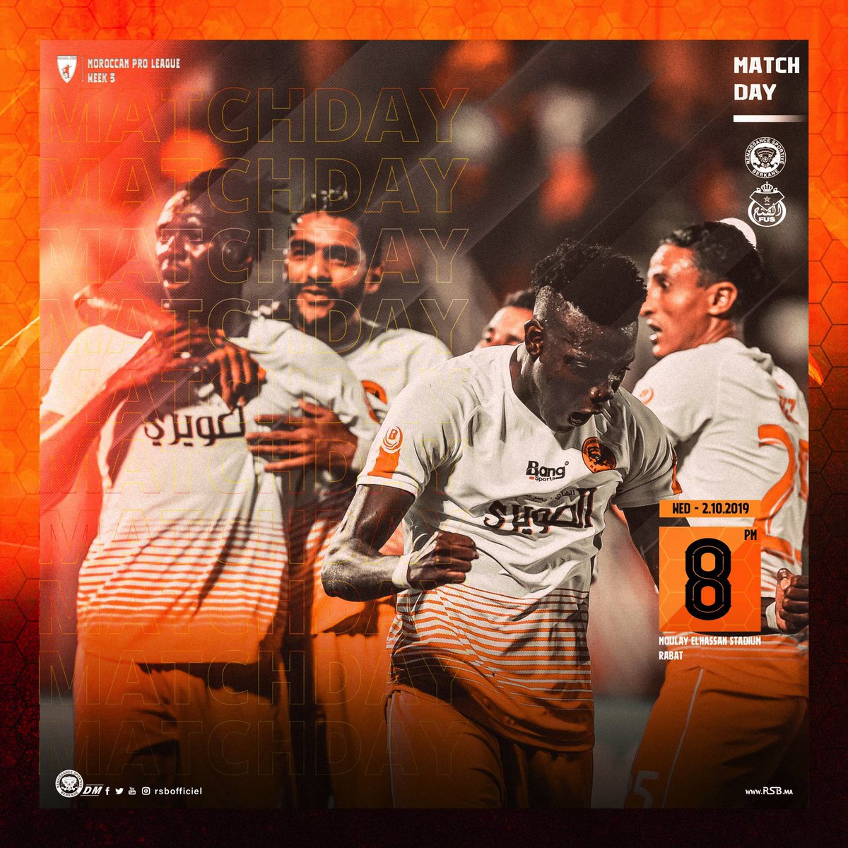 Its the Matchday #3 in Moroccan pro league! ⚡️ 🆚 FUS 📆 2.10.2019 ⏰ 8PM GMT+1 🏟 Moulay Elhassan Stadium - RABAT 📲 #FUSRSB