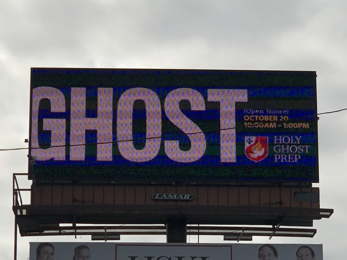 Seen the billboards! How could you miss them! ThinkGhost! @HolyGhostPrep @HGPAlumni @hgpfathers #ThinkGhost