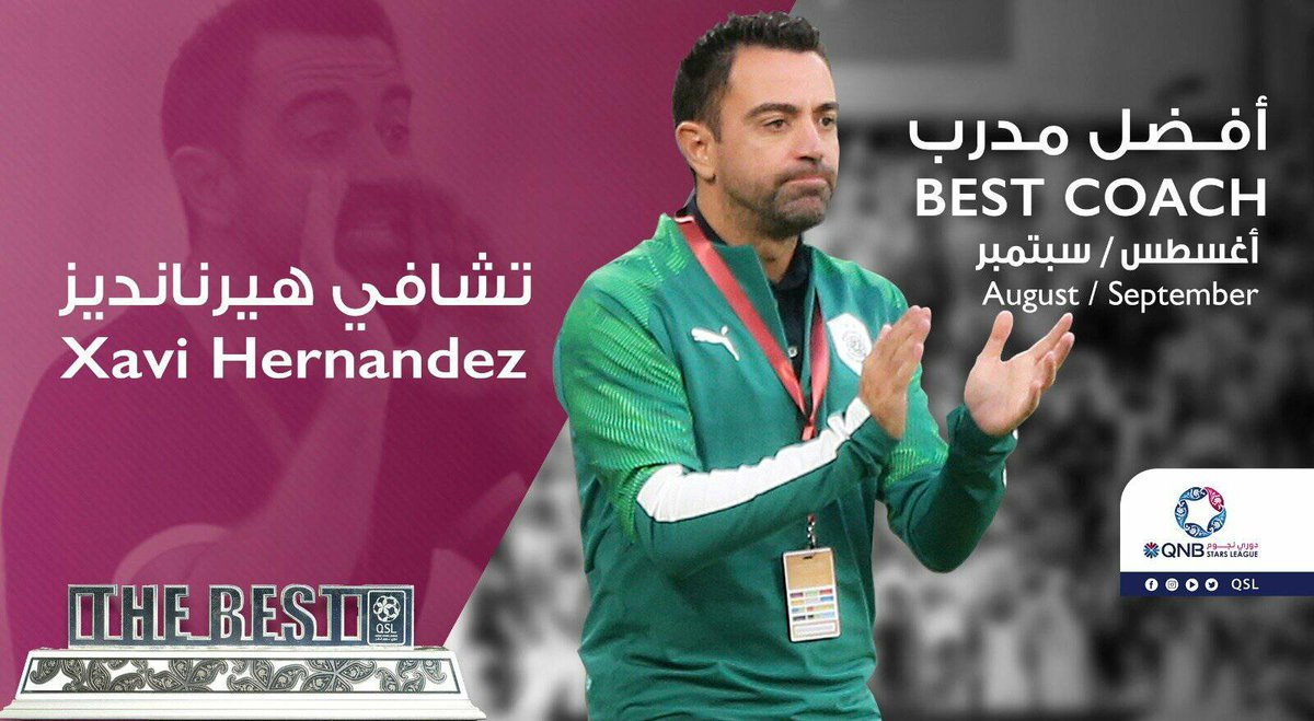 [@QSL_EN] | OFFICIAL | Xavi Hernandez of @AlsaddSC is #QNBstarsLeague best coach in August & September, 2019   4 matches   12 points  16 goals scored  4 goals conceded  Already on road to glory! Can't wait to see him at Barça! <br>http://pic.twitter.com/EgAIJ6BkTo