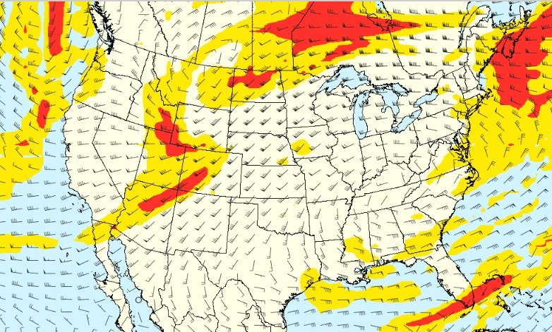 Today's potential clear-air #turbulence over the US.