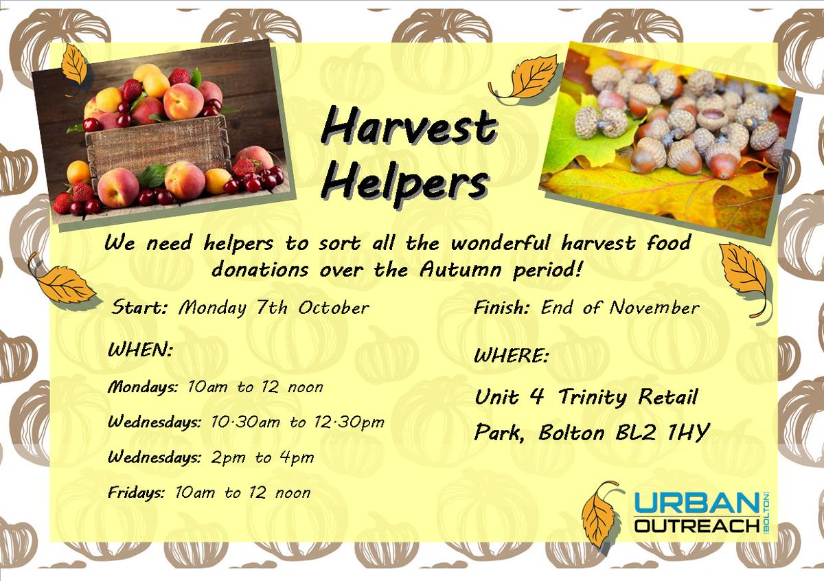 Its that time of year again... the harvest is being brought in and we need a band of people to help us sort & store all the food! This year it is all happening from the former Staples Unit on Trinity Retail Park (details attached). If you can help, please just come along!