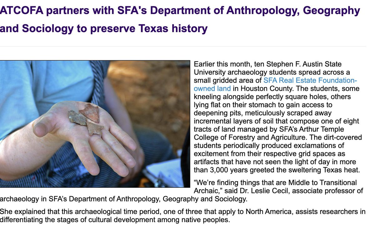 In honor of #TexasArcheologyMonth, we want to share a past collab with @SFASU's Dept. of Archeology. These fine students excavated precious artifacts used by those who managed and utilized the forested habitat we now call home. https://t.co/rsOIvyCPQL @TxHistComm https://t.co/bXcKfo1SN3